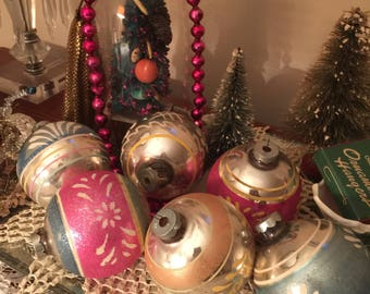 Sale// Vintage// Mercury Balls// Set OF 6// Assorted// Christmas Balls// Made U.S.A// Fabulous Collection OF 6!