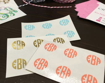 """Monogram Minis (1/2"""" circle decals) - Set of 6, 10 or 20 - use on sunglasses, pens/pencils, phone/tablet cases and more!"""