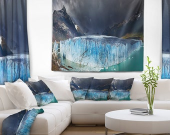 Designart Perito Moreno Glacier Photography Wall Tapestry, Wall Art Fit for Wall Hanging, Dorm, Home Decor