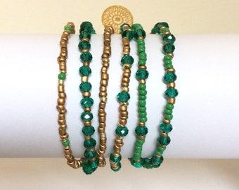 Femme bracelet, bracelet manchette en perles, bijoux Bohème, émeraude, bracelet Wrap, cadeau pour elle, cadeau pour femme, bijou, fait à la main