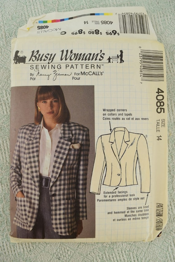 mccalls sewing pattern 4085 partially lined blazer jacket busy womans by nancy ziemer size 14 from 1989