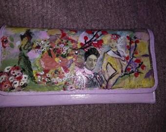 wallet, mixed media, feminine, floral, vintage