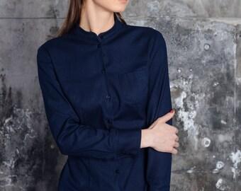 Women shirt, women blouse, women office shirt, slim fit shirt, classic wear,  dark blue women shirt, women office wear