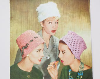 Lee Target Hat Knitting Pattern Vintage Retro, six winter summer knitted hat cloche, Mad Men Style Flower-Pot Hats, 1950s 1960s One size