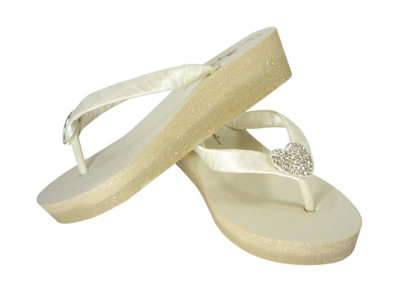 Starfish Beach Ivory Heel or Wedges Blue Royal for Flip Blue amp; Ombre white Light in Wedding Flops Glitter wFIRaqI7