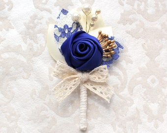 Blue Ivory Gold Rosette Boutonniere/ 12 available/ Royal Blue Wedding Lapel Pin/ Handmade Wedding Accessory