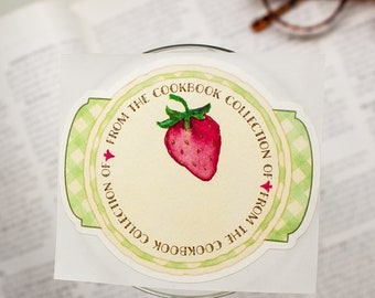 strawberry cookbook bookplates - culinary book plates - bookplate stickers - gifts for foodies - gifts for cooks  - personalized gift