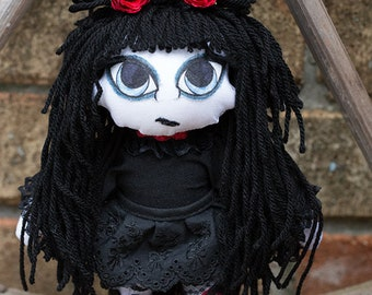 Gothic Inspired Art Doll. Goth Doll - Sardonyx - Handmade OOAK Cloth Doll