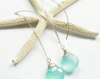 SP Chalcedony briolette long stud earrings