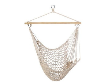 Bohemian Cotton Hammock Swing Chair   Natural Cotton With Wood Stretcher    Outdoor Patio Decor