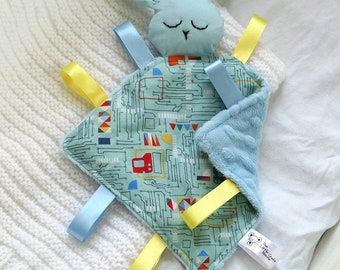 Bunny Comforter Blue Technology, Taggie Blanket, Comfort Blanket, Baby Blanket, Baby Toy, Taggy Toy, Newborn Gift, New Baby Gift, Ribbon Toy