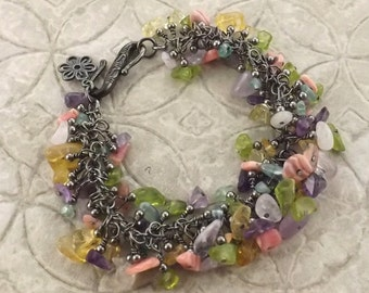 Wildflowers spring colors multicolor gemstone and gunmetal bracelet with flower charm