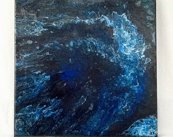 "Acrylic Flow Painting ""Blue Galaxy"""