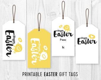 Happy easter printable card easter eggs printable card kids easter party favor tags printable easter favor tags diy easter chick gift tags negle Gallery