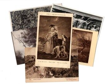 100 Vintage Black and White Artwork Unused Postcards Blank - Unique Museum Art Wedding Guestbook, Reception Decor, Art Journal Supplies