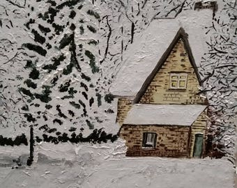 Snowy house against the trees, hand painted roof tile