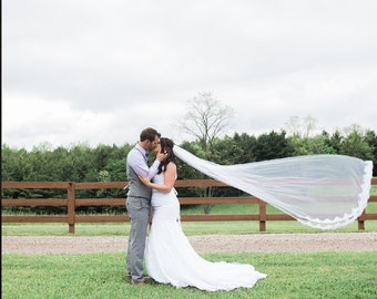Lace Wedding Veil- Partially Laced