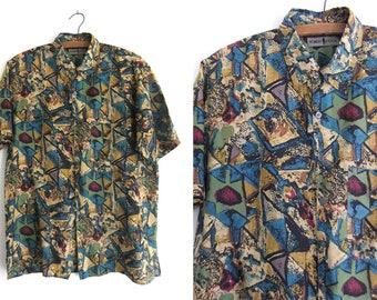 Vintage Hawaiian Style Button Down Shirt Nice Design By Robert Stock Medium Size 9o6234klqN