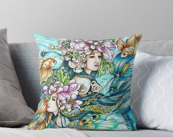 "Sirena Twin Mermaids Throw Pillow - Artwork by Mardel Rubio from ""Sirena coloring book"" - Colored by Joyce Tolero"