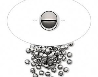 7367MB Bead,  gunmetal dark silver colored brass, 2.5mm smooth round. Sold per pkg of 100.