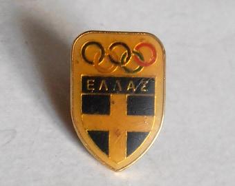 vintage Olympic games enamel pin / badge Hellas Greece