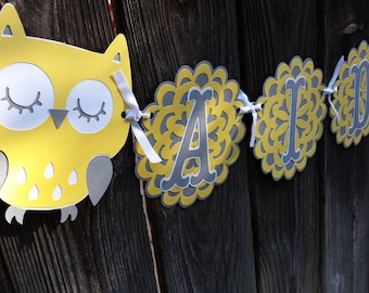 Baby Shower Owl Banner - any colors Yellow Grey Owl Baby Name Banner - Owl Baby Sign - Baby Name Owl Decor Banner - Nursery Baby  Decor Owls
