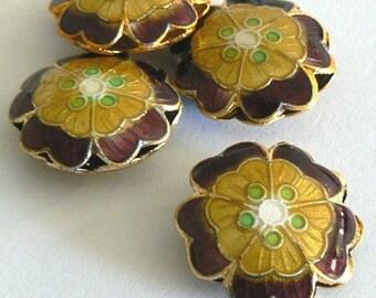 SALE 4 18x7mm Handmade Cloisonne Beads Gold Plated Brass Round Lotus Purple