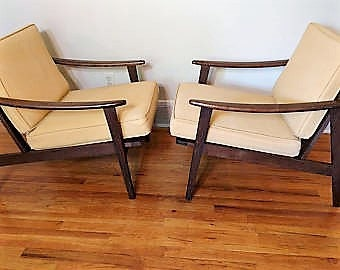 Mid Century Danish Modern Pair of Wood Lounge Chairs - Made in Italy