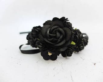 Black wedding flower wrist corsage - bridal accessories flower girls bridesmaids - flower bracelet