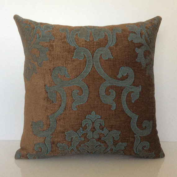 Chocolate Brown And Teal Pillow Throw Pillow Cover