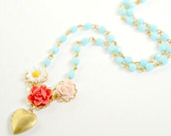 Heart Locket Princess Necklace, Children Locket, princess necklace