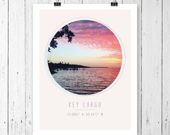 Key Largo, Florida Print with Coordinates