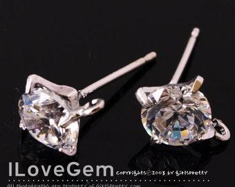 2pcs, NP-1145, Nickel Free Rhodium plated, 6mm Cubic Earrings, Cubic Ear Stud, 925 sterling silver post, wedding earrings