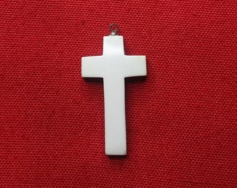 White Magnesite Cross/ Crucifix Cabochon with Sterling Silver Eyehook
