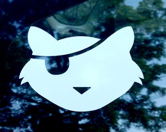 Pirate Kitty Car Decal - One eyed cat sticker - One eyed cat bumper sticker