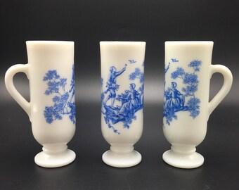 Set of 3 vintage milk glass Avon demi glasses. Victorian