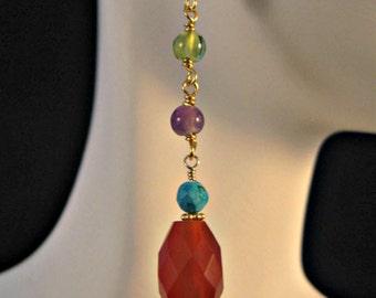 Multi Gemstone Drop earrings,carnelian earrings,birthstone earrings,dangle earrings,gemstone earrings,turquoise earrings,amethyst earrings