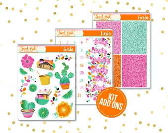 Fiesta // Kit ADD ONS-Stickers for the EC Happy Planner Life planner