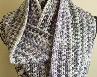 Crochet Infinity Scarf in Purple & Gray - Loop Crochet Scarf