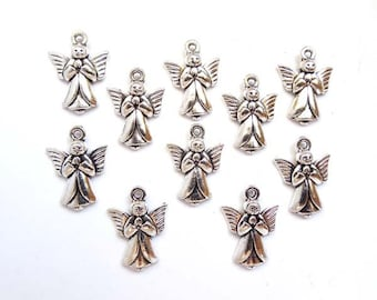 10 Antique Silver Angel Charms - 21-11-2