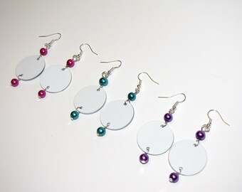 Fun Earrings, Colorful Earrings, Dangle Earrings, Aluminum Earrings, Lightweight Earrings, Circle Earrings