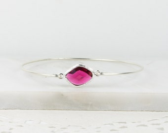 July Birthstone Silver Bracelet, July Birthstone Sterling Silver Bangle, Sterling Silver Bracelet, Ruby Bangle Bracelet