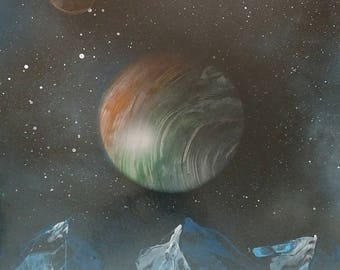 Mountains and Planets - Spray Paint Art (14in x 22in)