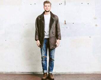 Mens 90s Sheepskin Jacket .  Leather Shearling Coat Vintage Winter Leather Brown Fur Overcoat Outerwear Long Jacket . size Large