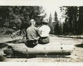 vintage photo 1920 REAR VIEW Young couple Sit on Tree Log from Back