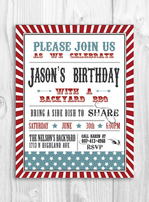 Items Similar To Printable Bbq Party Invitation Barbeque 4th Of