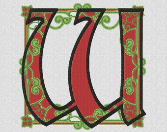 Monogrammed machine embroidery letter W ornament