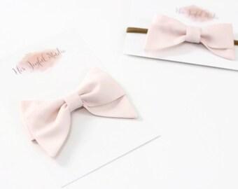 pink baby headband - baby headband - baby girl - pink bow headband - newborn headband - photo prop -  baby girl headbands PEARL PINK