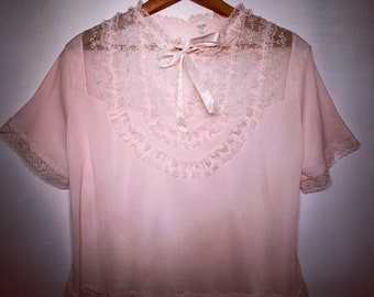 Vintage 1950s Light Pink Bed Jacket Lingerie Sleepwear Camisole Nightie Size Medium