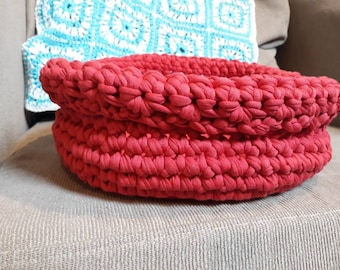 Crochet Red Basket